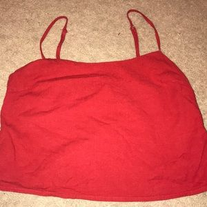 Red crop tank top with side zipper